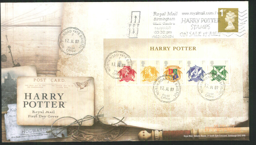 2007 - Harry Potter Mini Sheet First Day Cover - Royal Mail Harry Potter Stamps Slogan Postmark