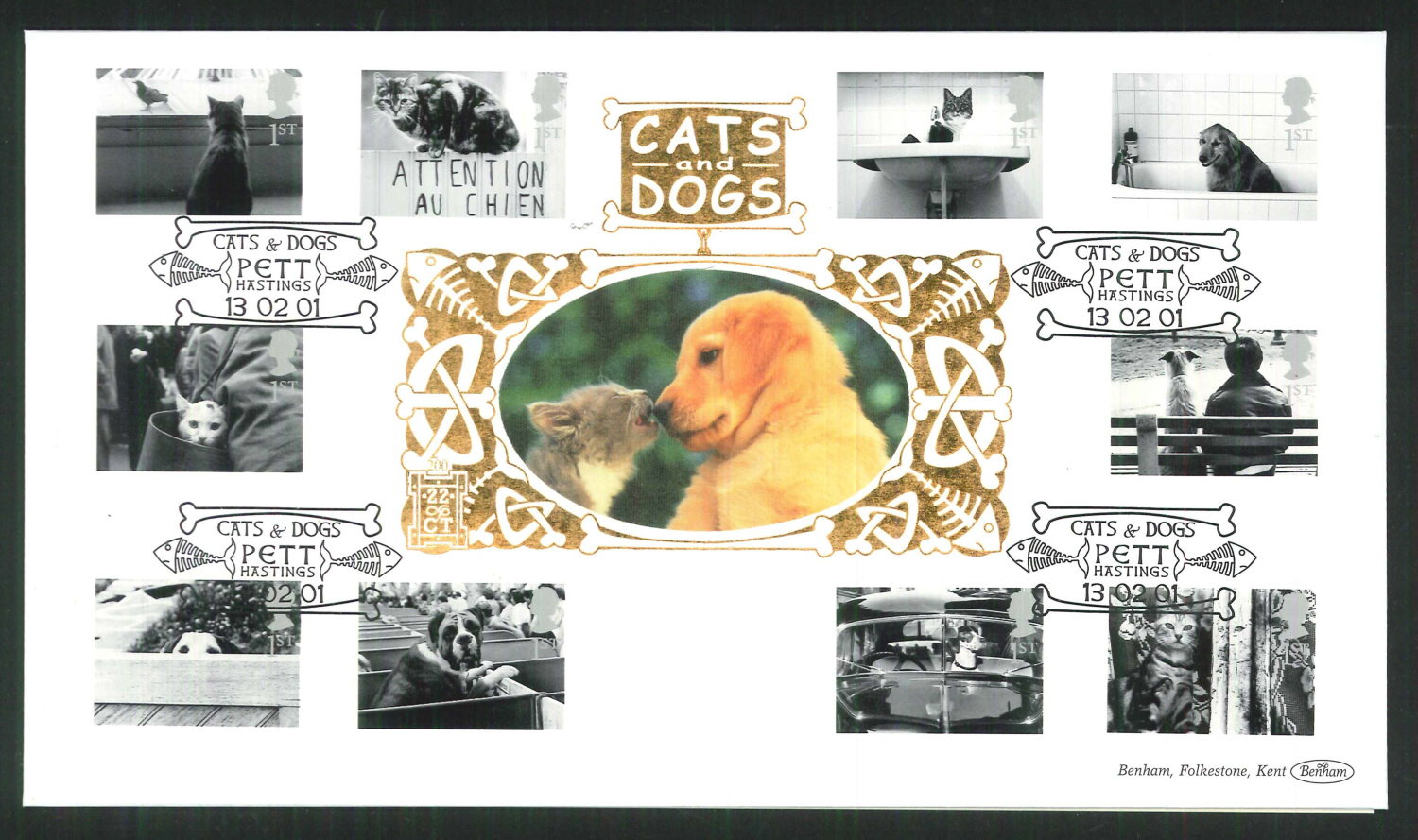 2001 -Cats & Dogs FDC Benham 22ct Gold 500 Pett Hastings Postmark