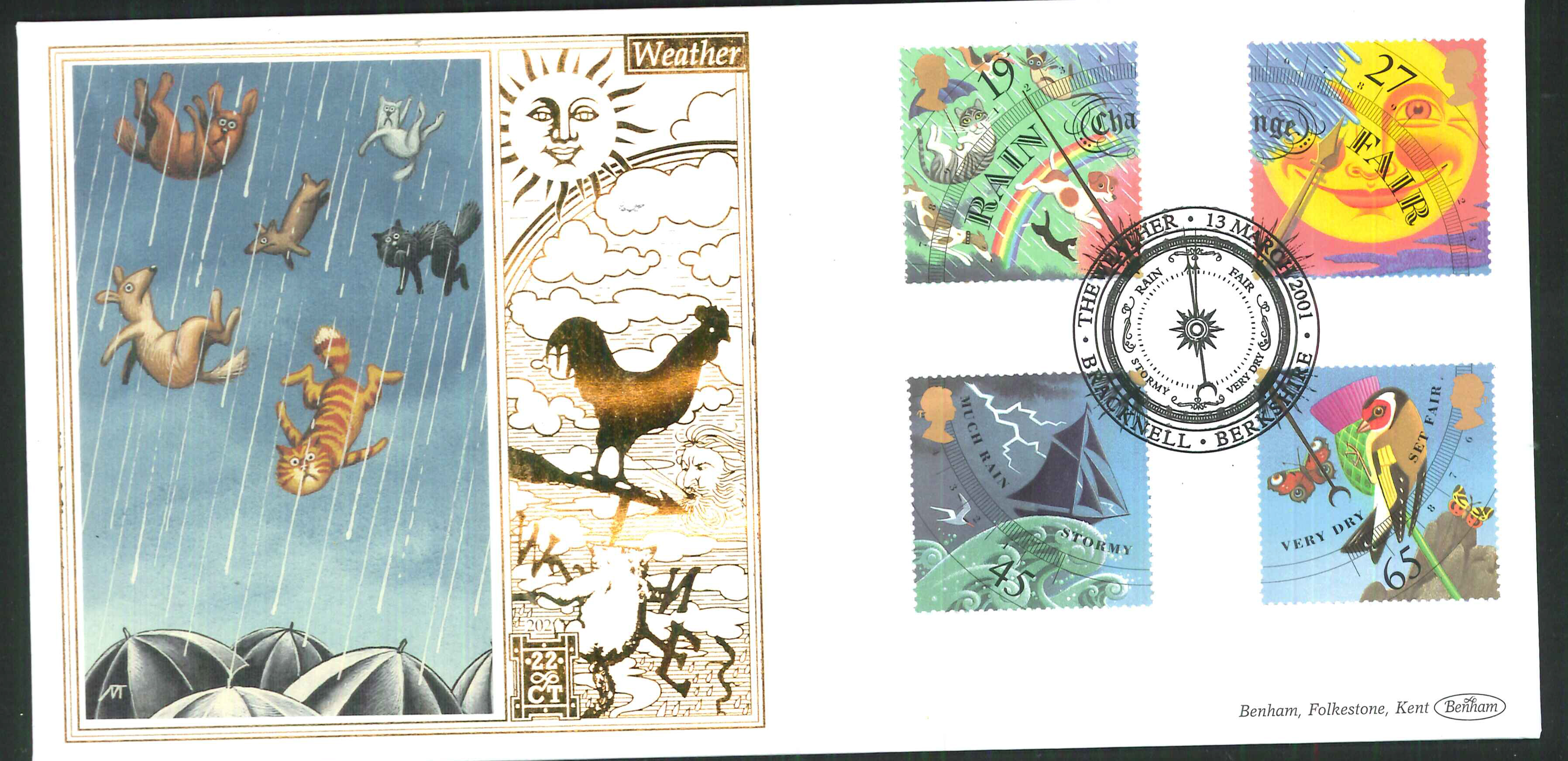 2001 -Weather FDC Benham 22ct Gold 500 Bracknell Postmark