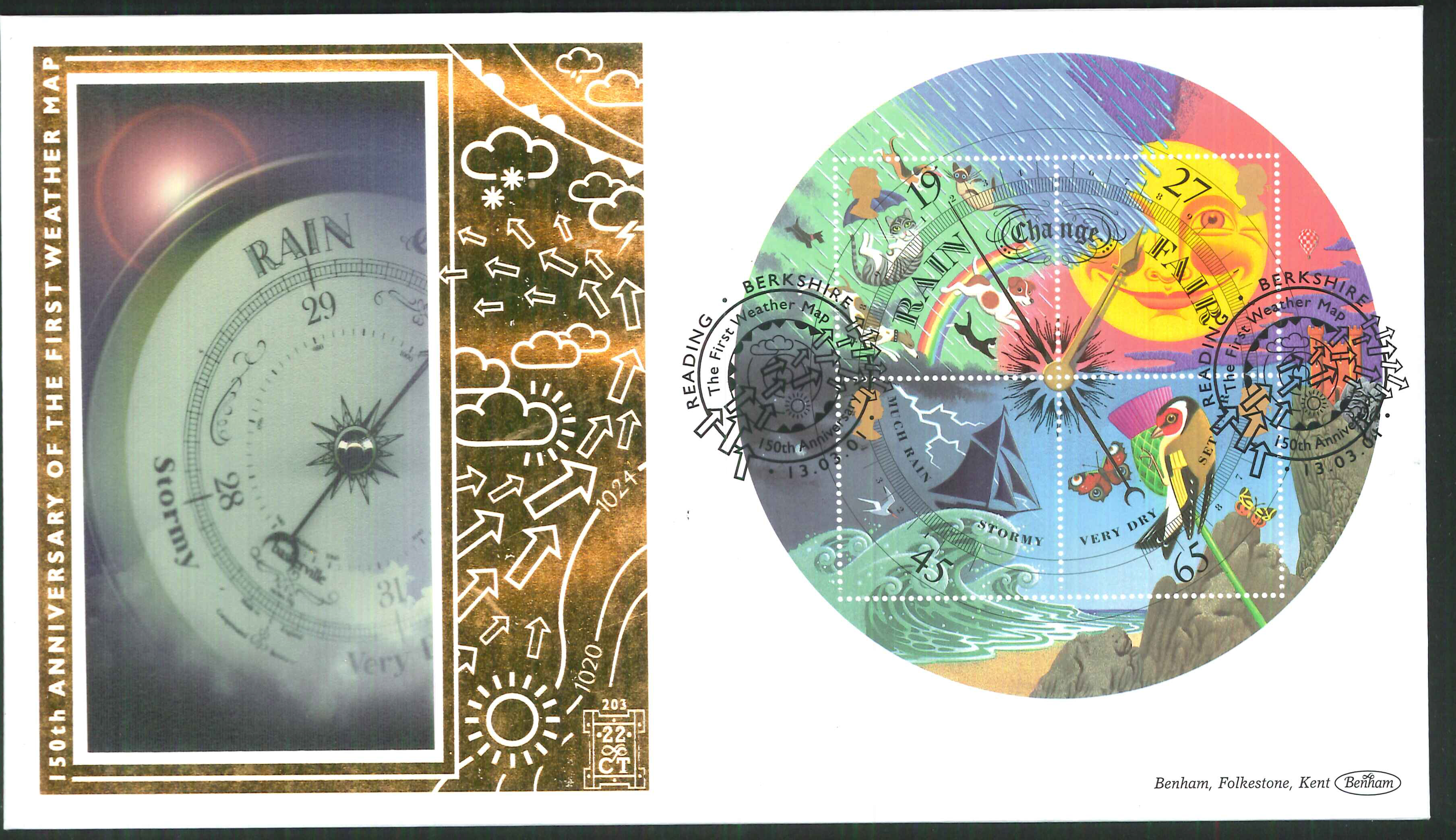 2001 -Weather M/S FDC Benham 22ct Gold 500 Reading Postmark