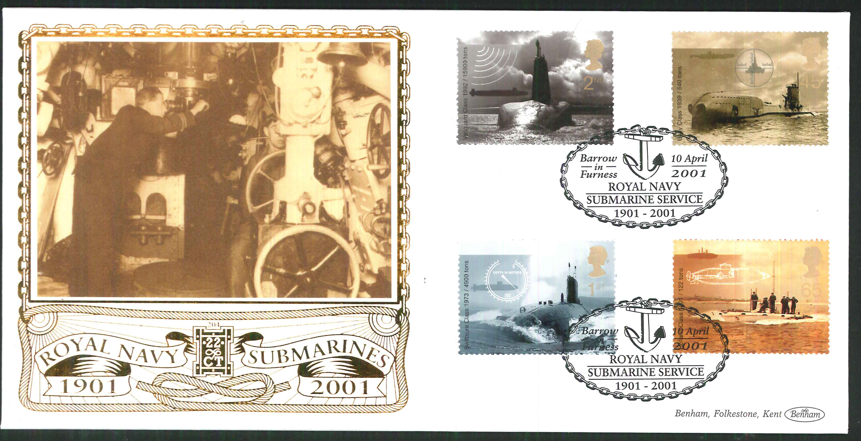2001 - Submarines FDC Benham 22ct Gold 500- Submarine Service Postmark