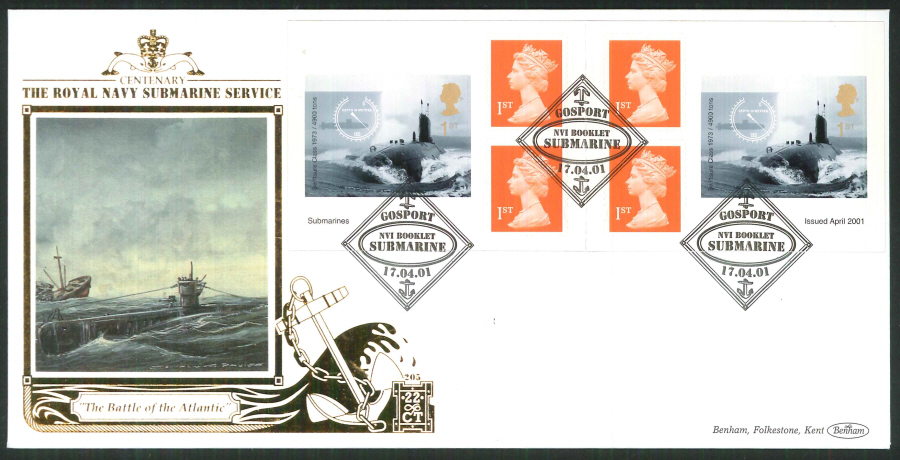 2001 - Submarines S A FDC Benham 22ct Gold 500- Submarine N V I Postmark