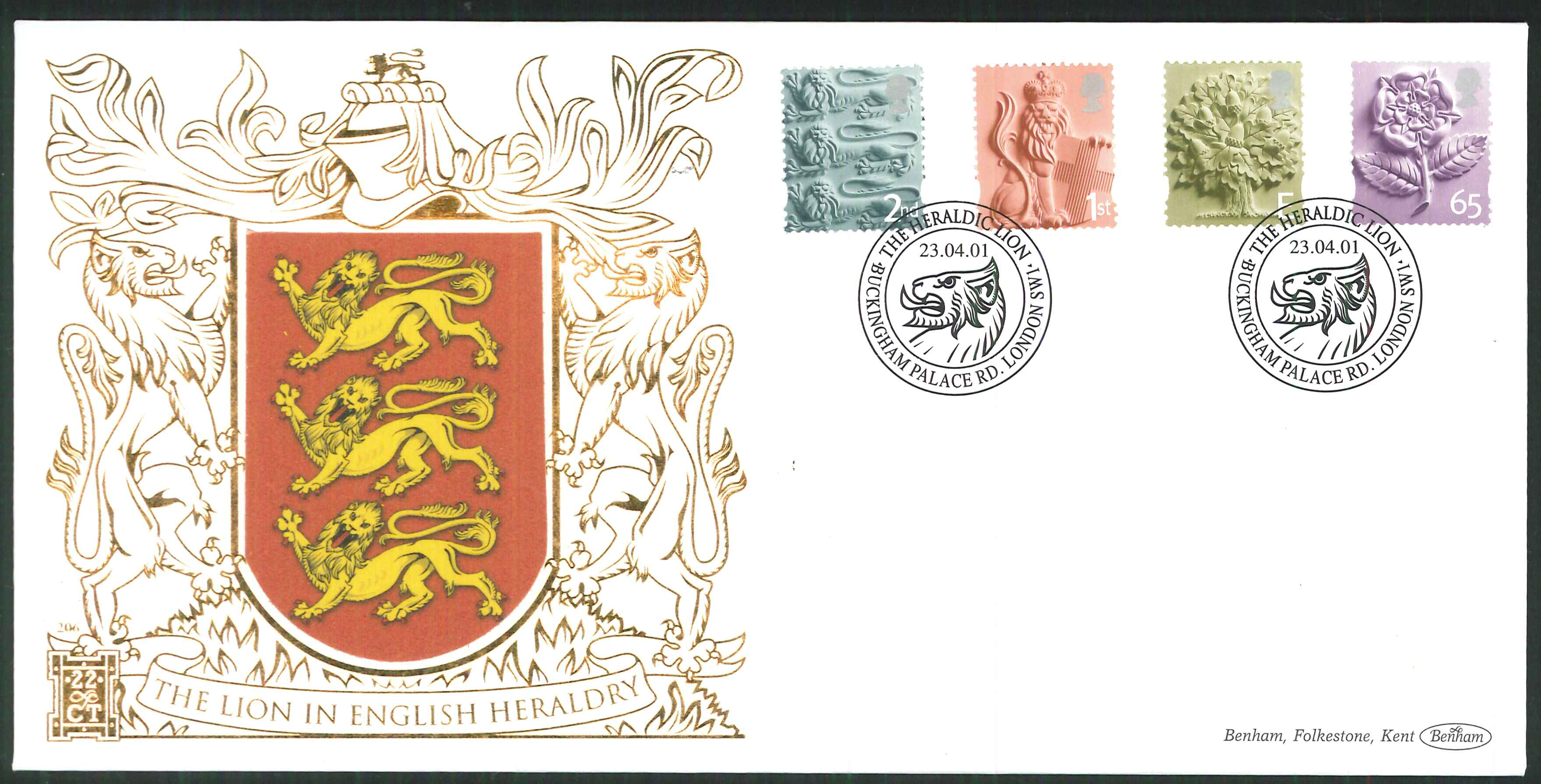 2001 - Country Pictorials Benham 22ct Gold 500 - Heraldic Lion London SW1l Postmarks