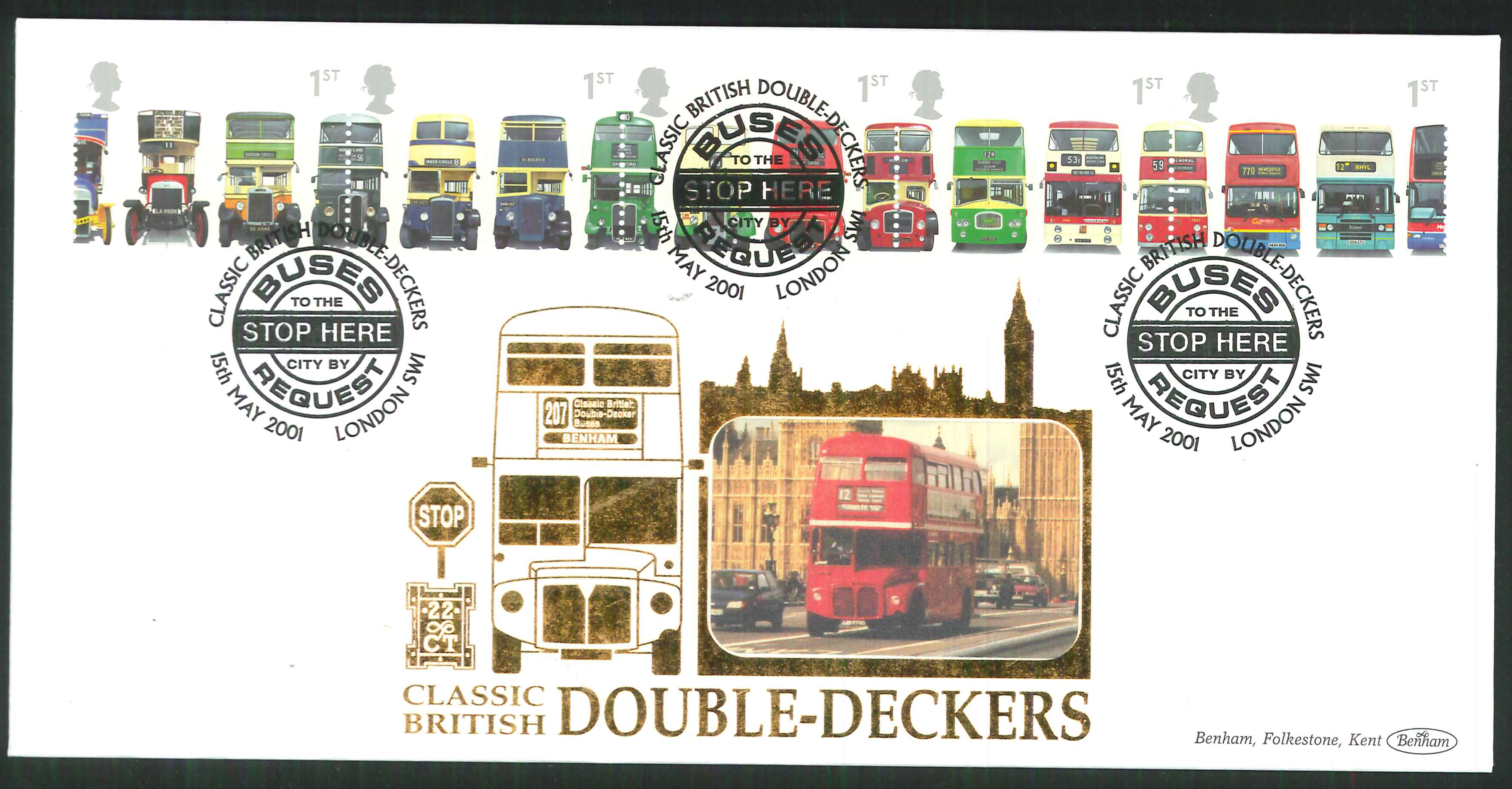 2001 - Buses FDC Benham 22ct Gold 500 London SW1 Postmark