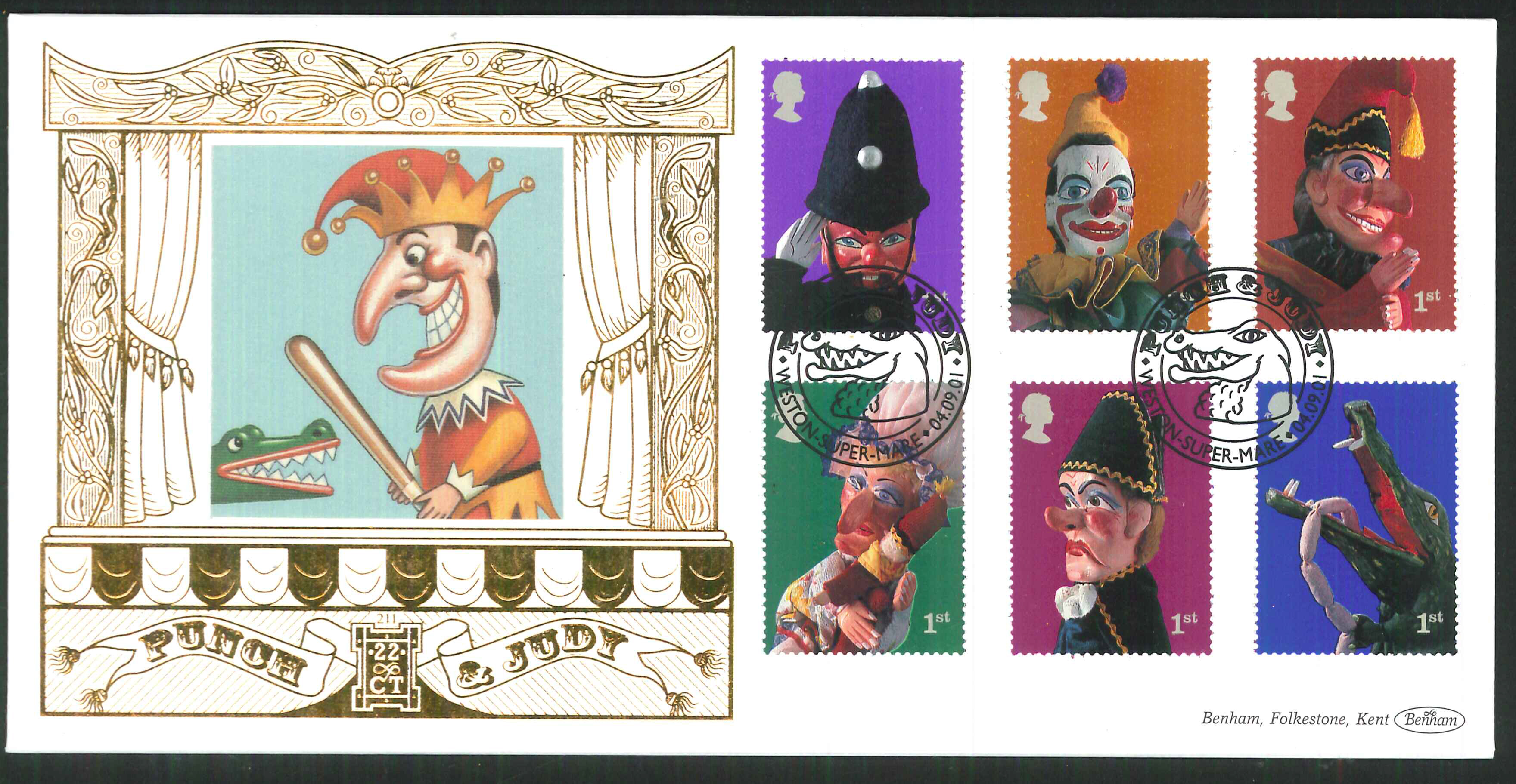 2001 - Punch & Judy FDC Benham 22ct Gold 500 - Weston super Mare Postmark