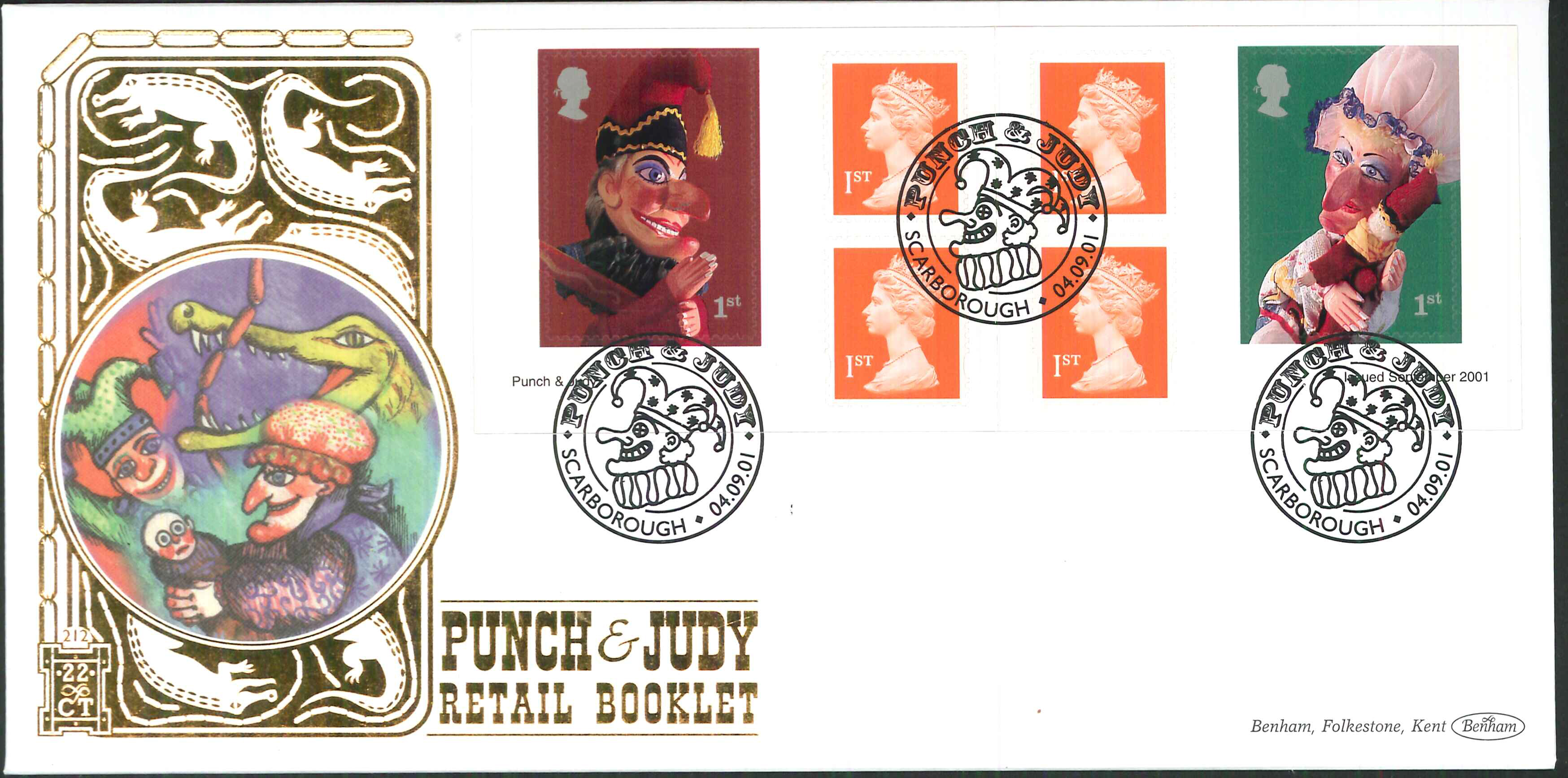 2001 - Punch & Judy Retail Book FDC Benham 22ct Gold 500 - Scarborough Postmark