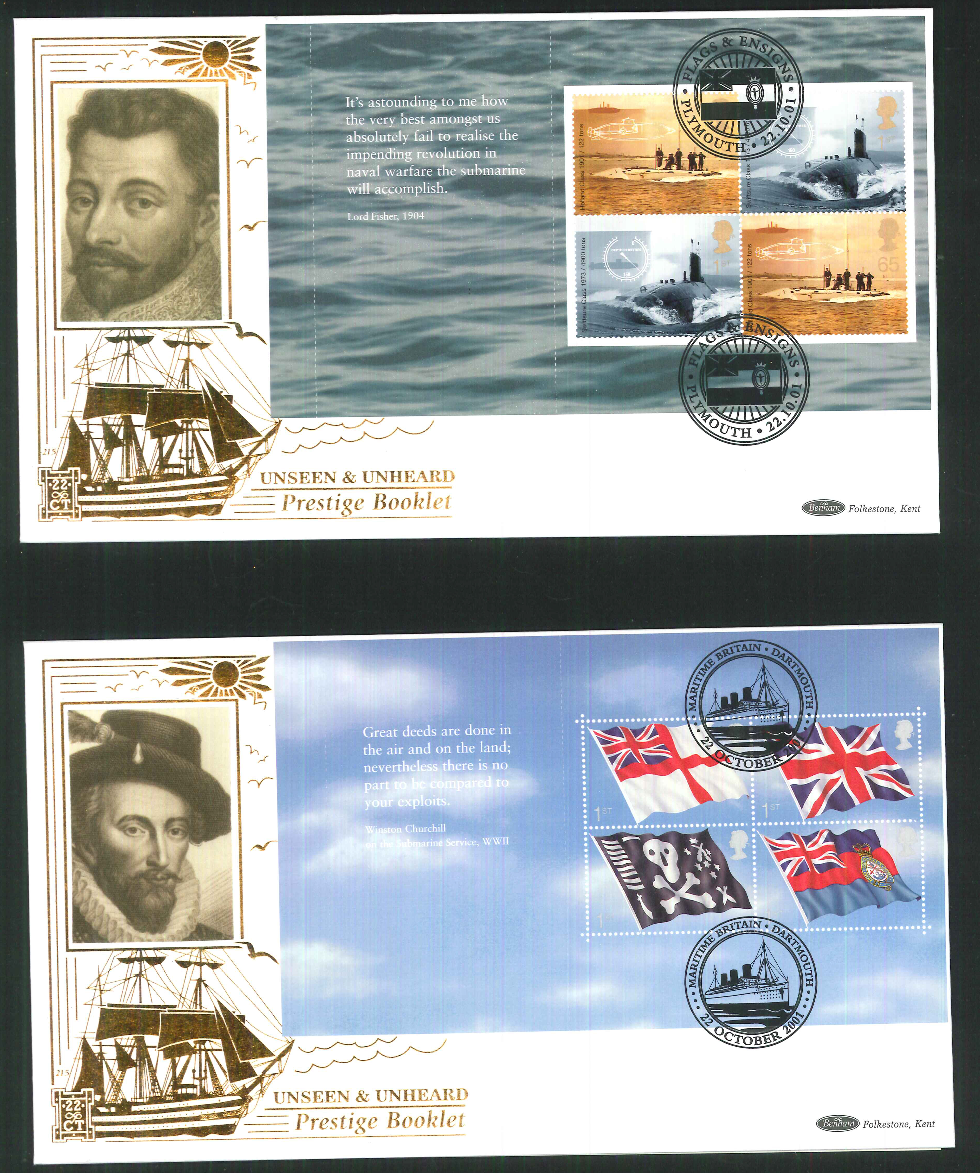 2001 - Flags & Ensigns PSB FDC Benham 22ct Gold 500 - Different Postmark