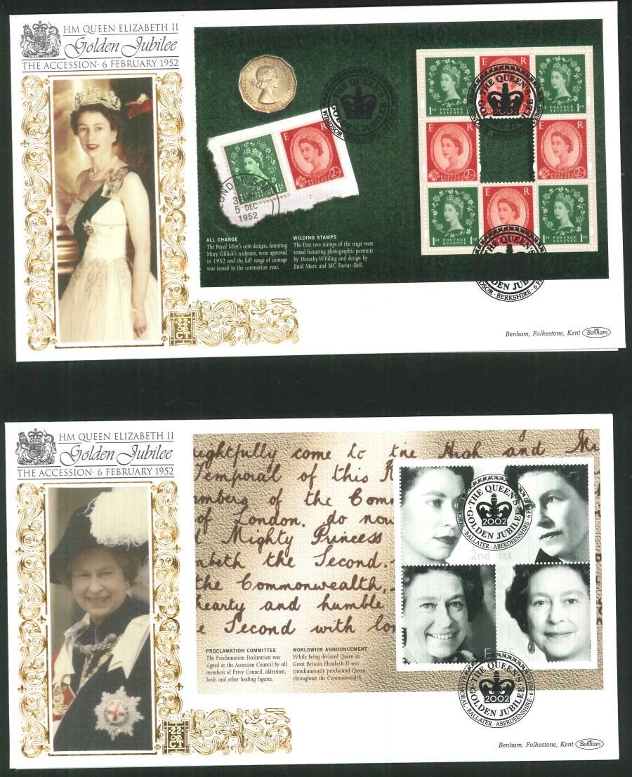 2002 -Wilding P S B set of 4 FDC Benham 22ct Gold 500 Different Postmark