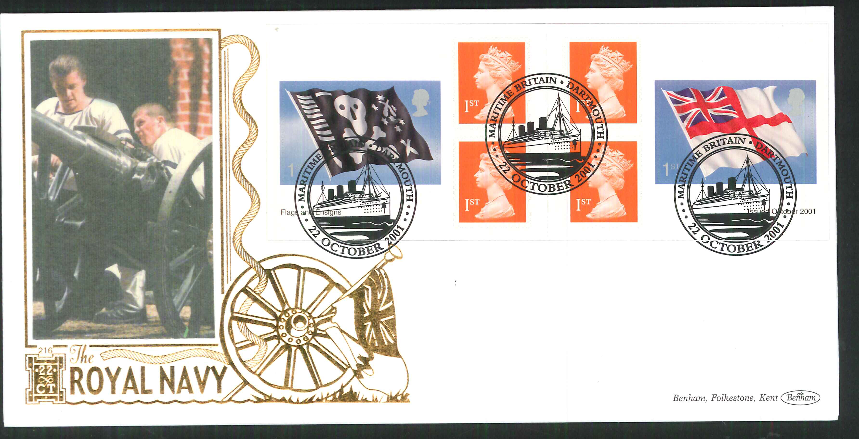 2001 - Flags & Ensigns Retail Book FDC Benham 22ct Gold 500 - Dartmouth Postmark