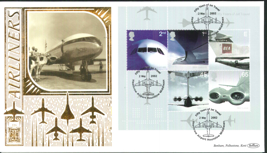 2002 - Airliners Mini Sheet FDC Benham 22ct Gold 500 - Heathrow Postmark