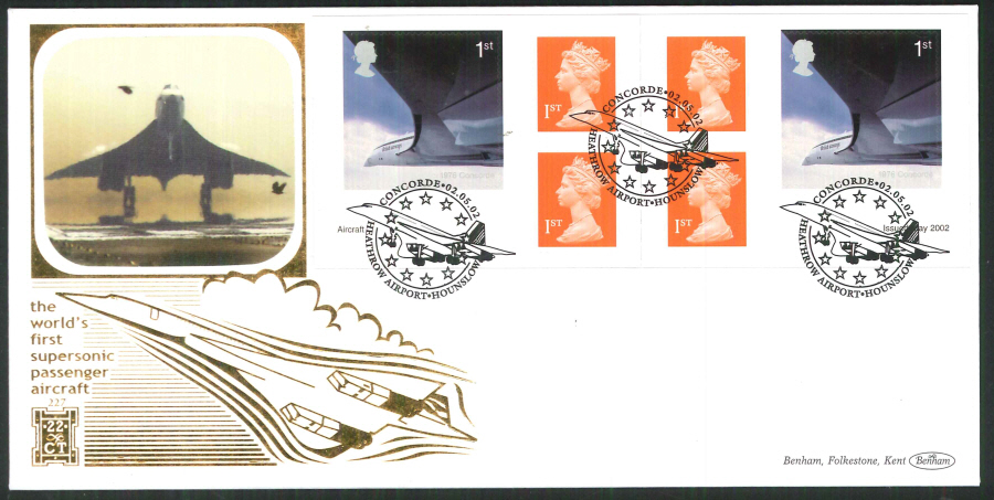 2002 - Airliners Retail Book FDC Benham 22ct Gold 500 - Concorde Heathrow Postmark