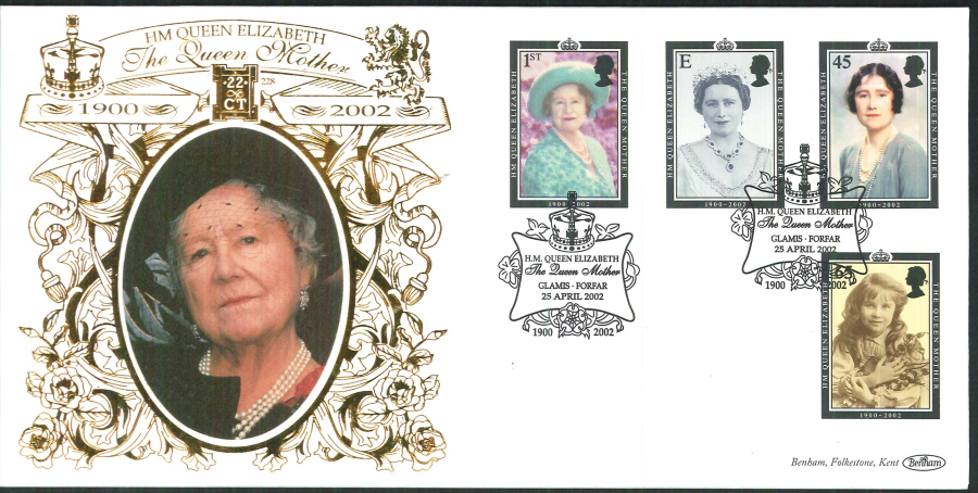 2002 -Queen Mother FDC Benham 22ct Gold 500 Glamis Forfar Postmark