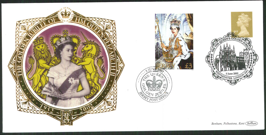 2002 -Gilden Jubilee Gold & Jersey FDC Benham 22ct Gold Westminster & Jersey Postmark - Click Image to Close
