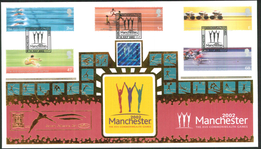 2002 -Commonwealth Games FDC Benham 22ct Gold 500 Manchester Postmark - Click Image to Close