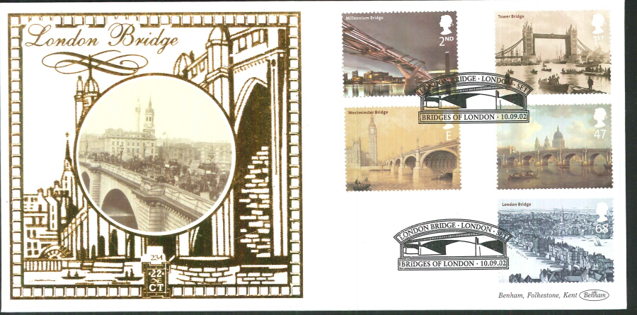 2002 -London Bridges Set FDC Benham 22ct Gold 500London Bridge London Postmark