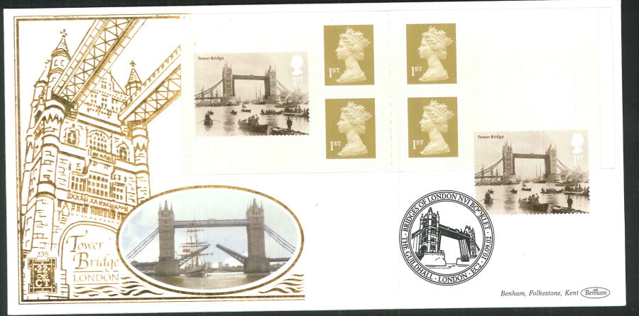 2002 -London Bridges Retail Book FDC Benham 22ct Gold 500 Guildhall London Postmark