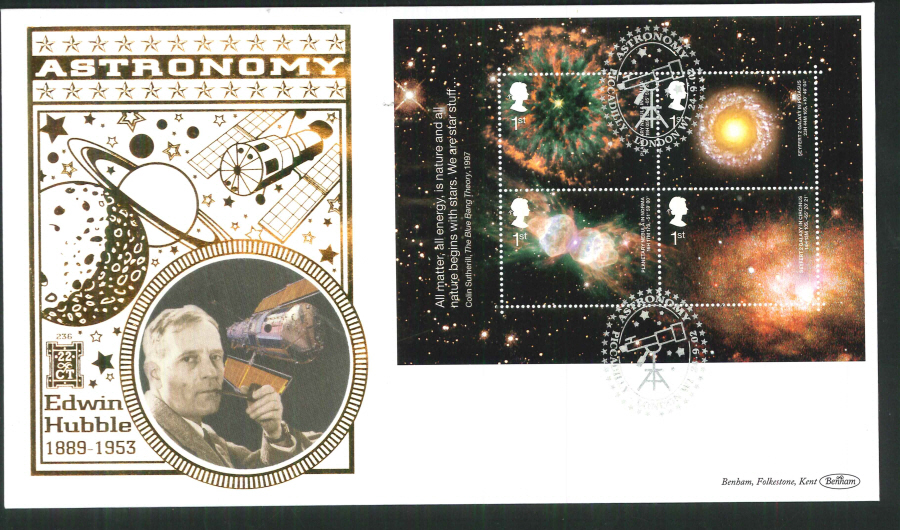 2002 -Astronomy Mini Sheet FDC Benham 22ct Gold 500 Piccadilly London Postmark