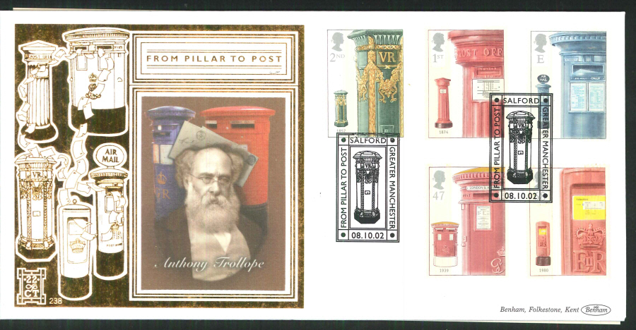 2002 -Pillar to Post FDC Benham 22ct Gold 500 Salford Postmark