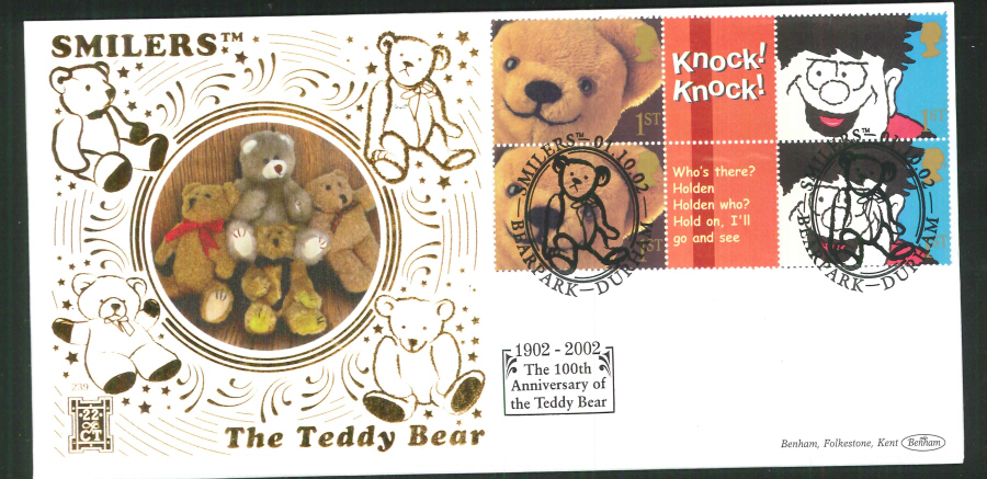 2002 -Smilers Teddy Bear FDC Benham 22ct Gold 500 Bearpark Postmark