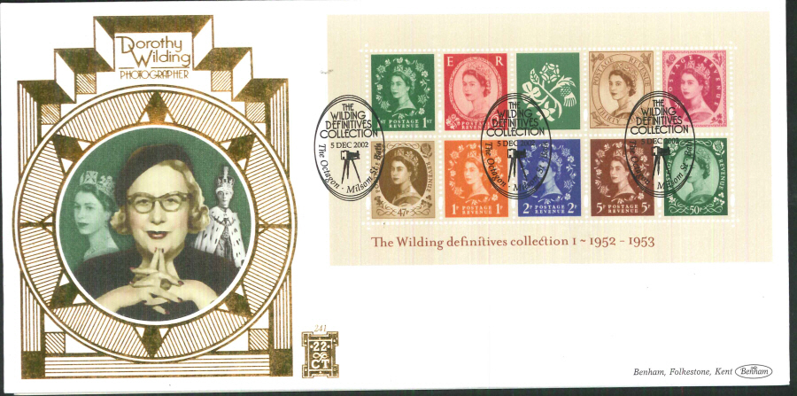 2002 -Wilding No1 Mini Sheet FDC Benham 22ct Gold 500 Milson St ,Bath Postmark