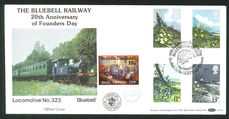 1979 - British Flowers First Day Cover - Bluebell Railway, Uckfield, Sussex Postmark