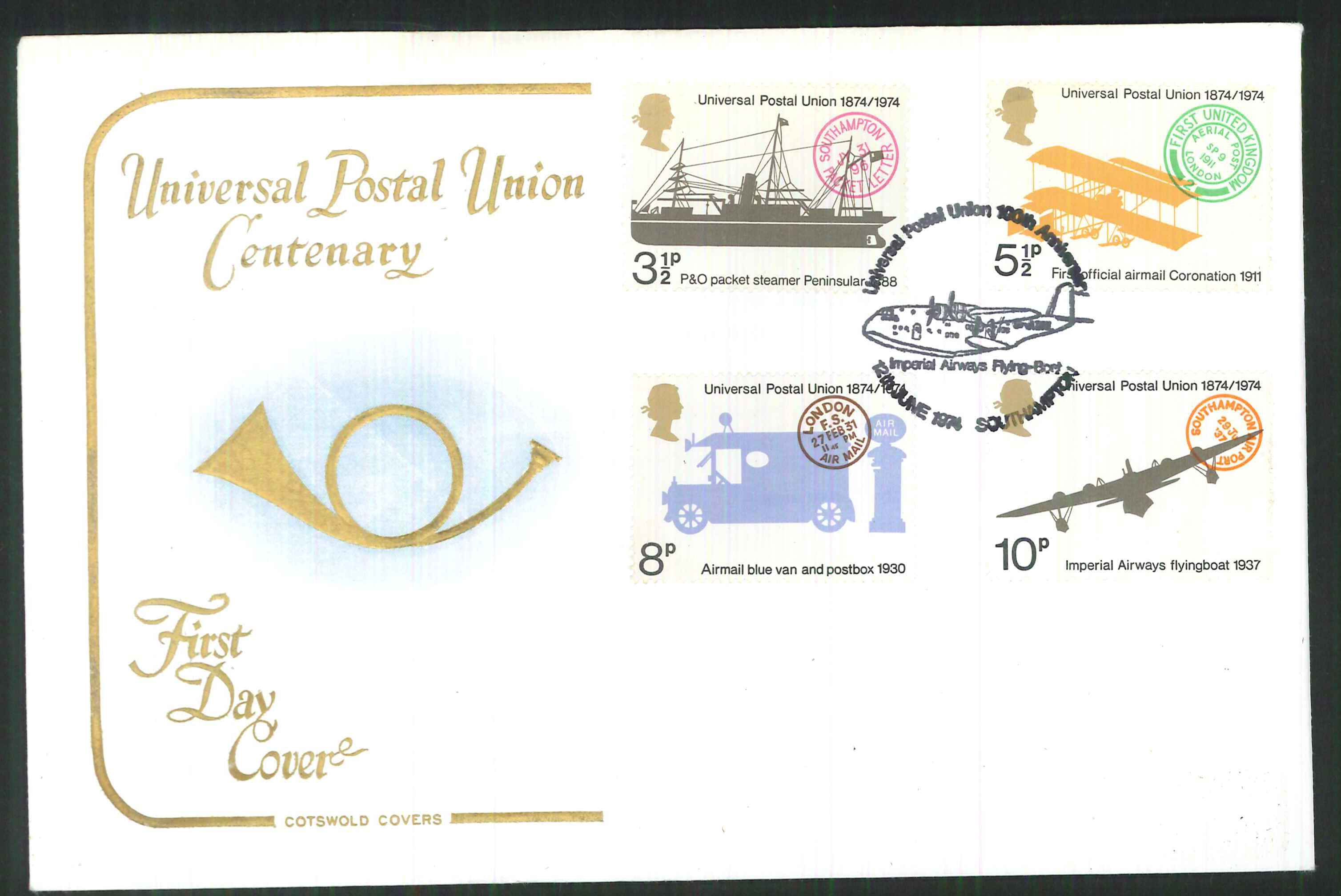 1974 -Cotswold FDC U P U Imperial Airways Postmark