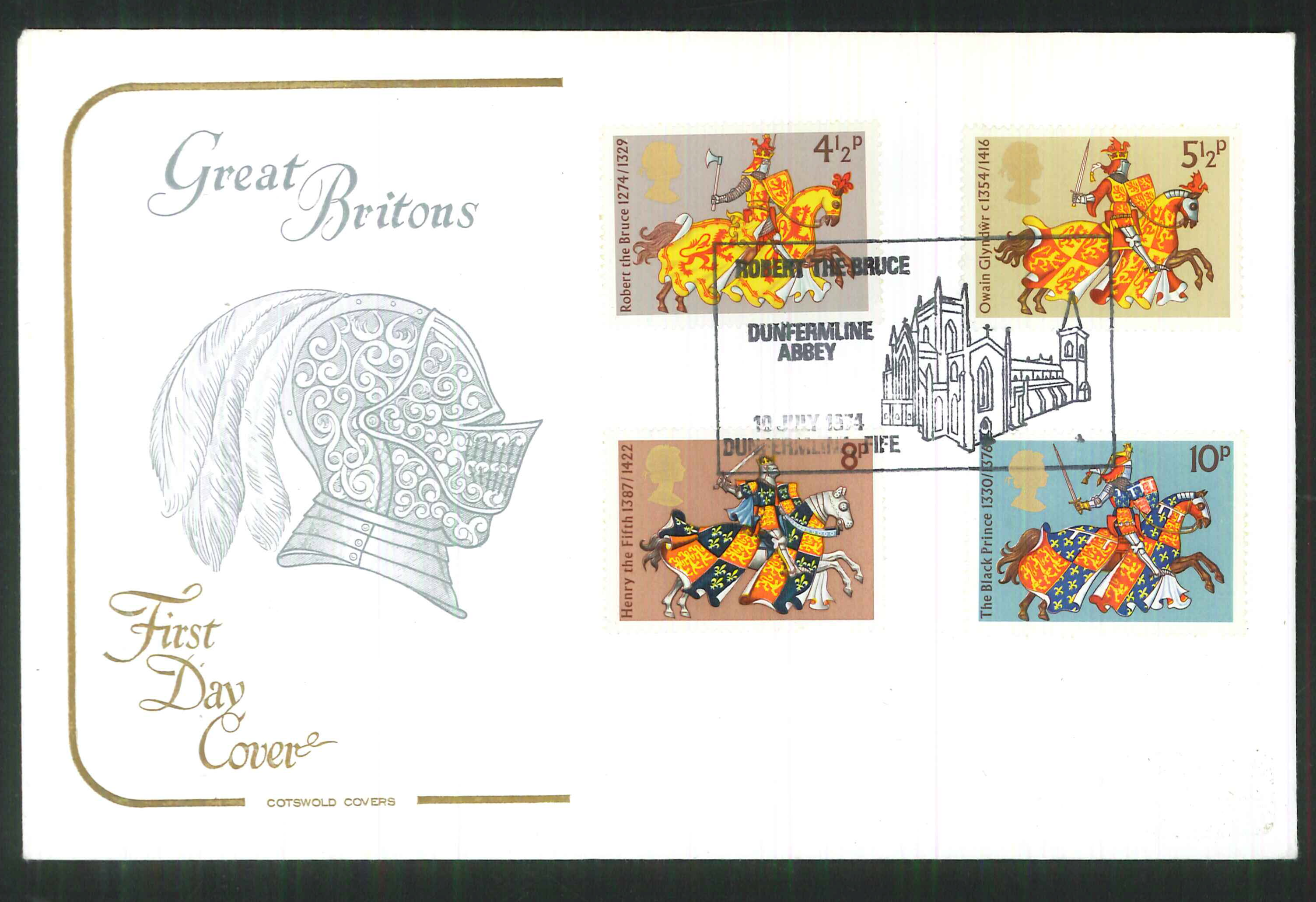 1974 -Cotswold FDC Great Britons Dunfernline Abbey Postmark