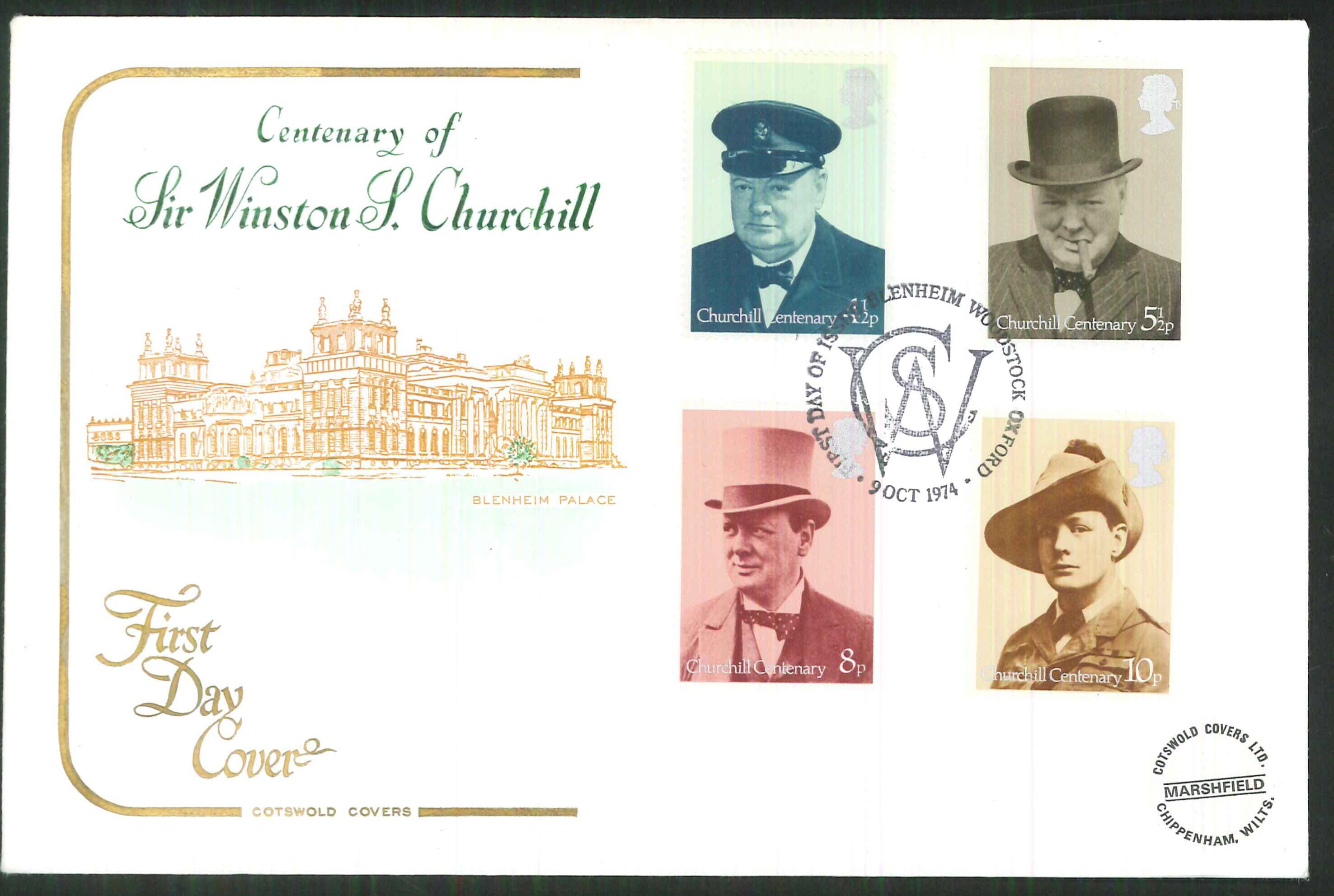 1974 -Cotswold FDC Churchill Blenheim Woodstock Postmark