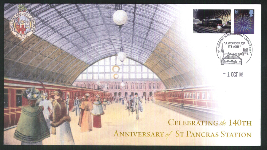2008-Buckingham-Railway- St Pancras Station Anniv London Postmark