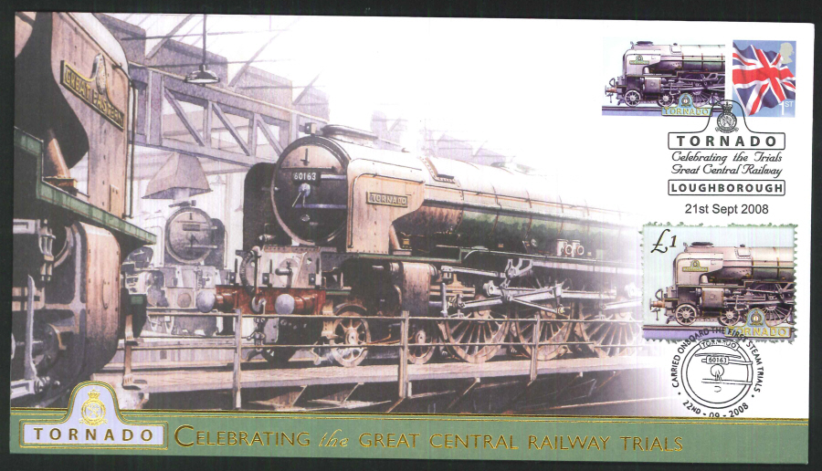 2008-Buckingham-Railway- Tornado's 1st trial run Postmark