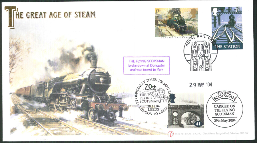 2004-Buckingham-Flying Scotsman Double Postmarked Cover