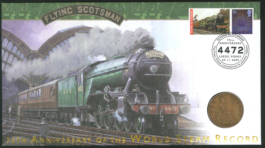 2009-Buckingham-Flying Scotsman 75th Anniversary coin cover