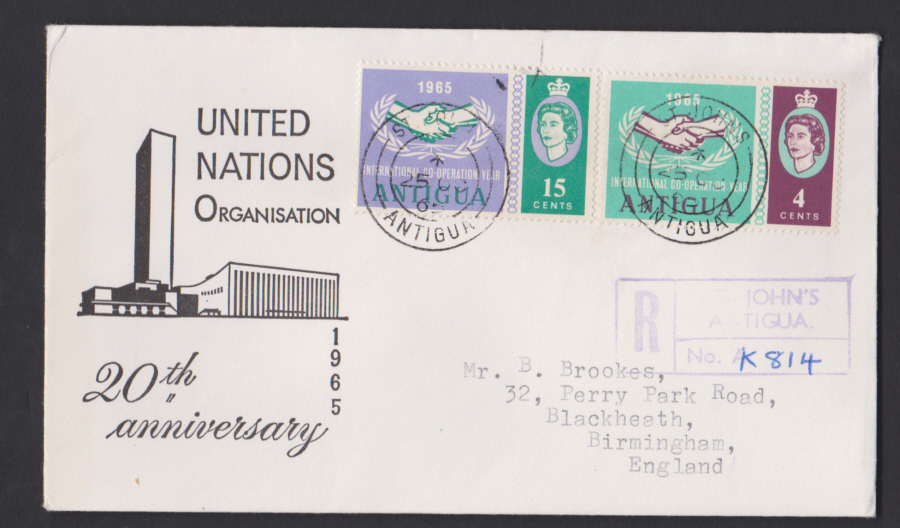 1965 Antigua First Day Cover United Nations