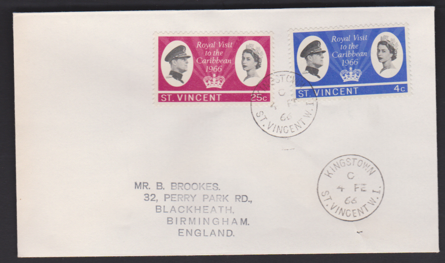 1966 St Vincent FDC Royal Visit to Caribbean
