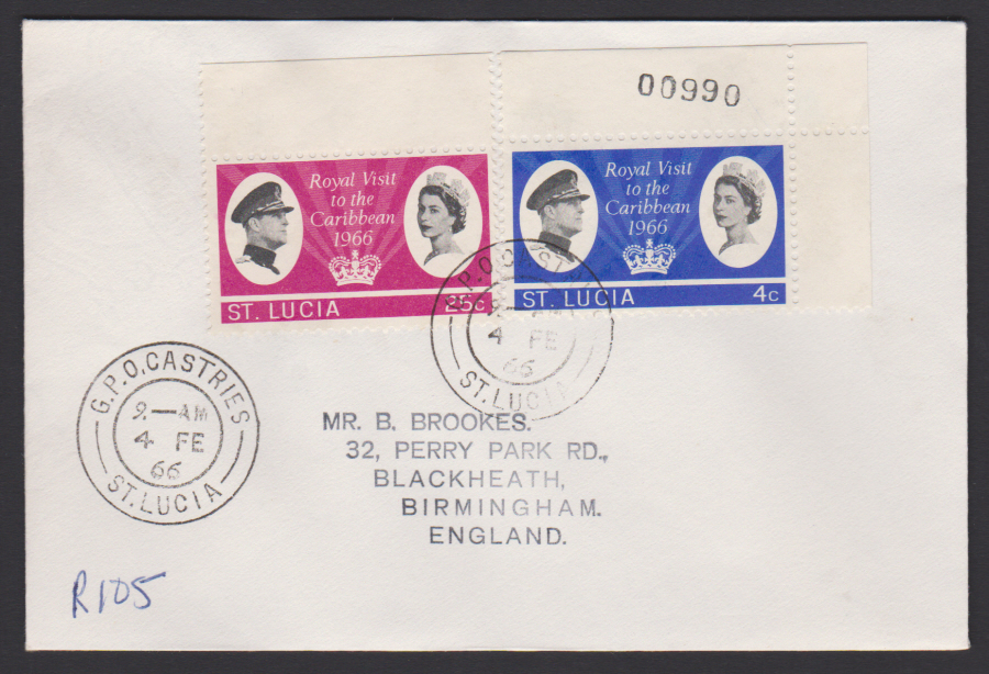 1966 St Lucia FDC Royal Visit to Carribean