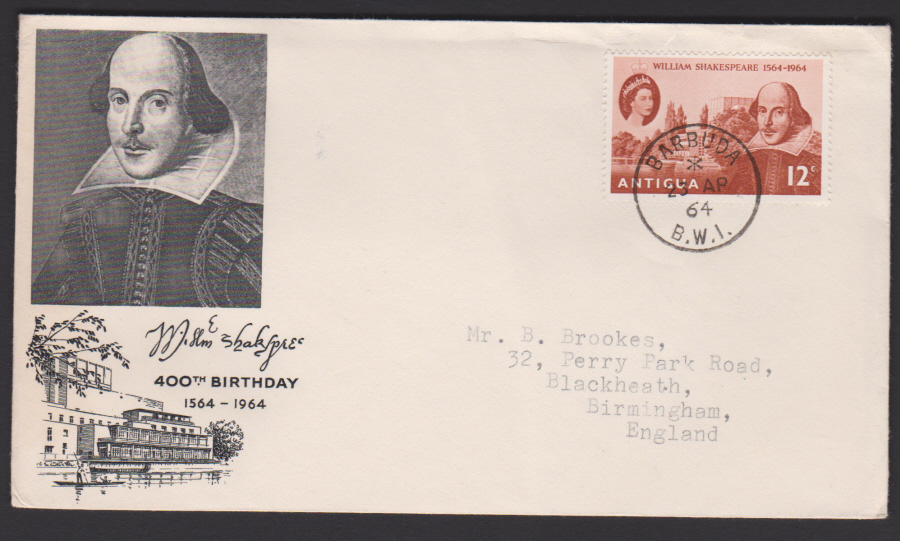 1964 Antigua FDC Shakespeare