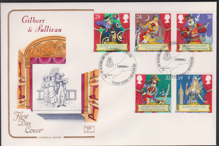 1992 - Gilbert & Sullivan First Day Cover COTSWOLD -Salvation Army, Penzance Postmark