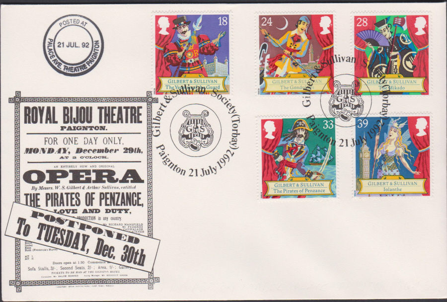 1992 - Gilbert & Sullivan First Day Cover OFFICIAL -G & S Society Paignton Postmark