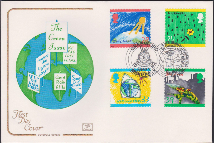 1992 - Green Issue First Day Cover COTSWOLD - Greenford, Middlesex Postmark