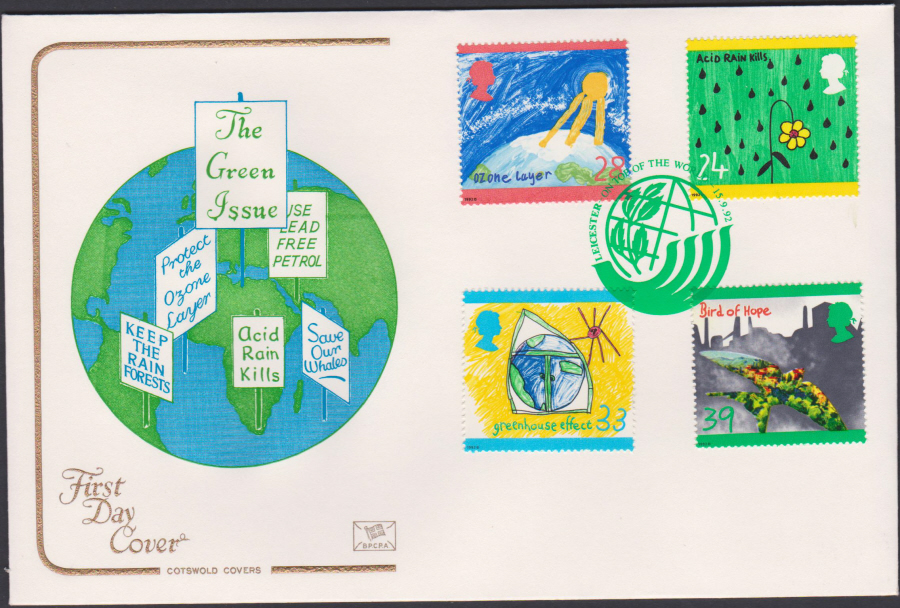 1992 - Green Issue First Day Cover COTSWOLD - Leicester Top of the World Postmark