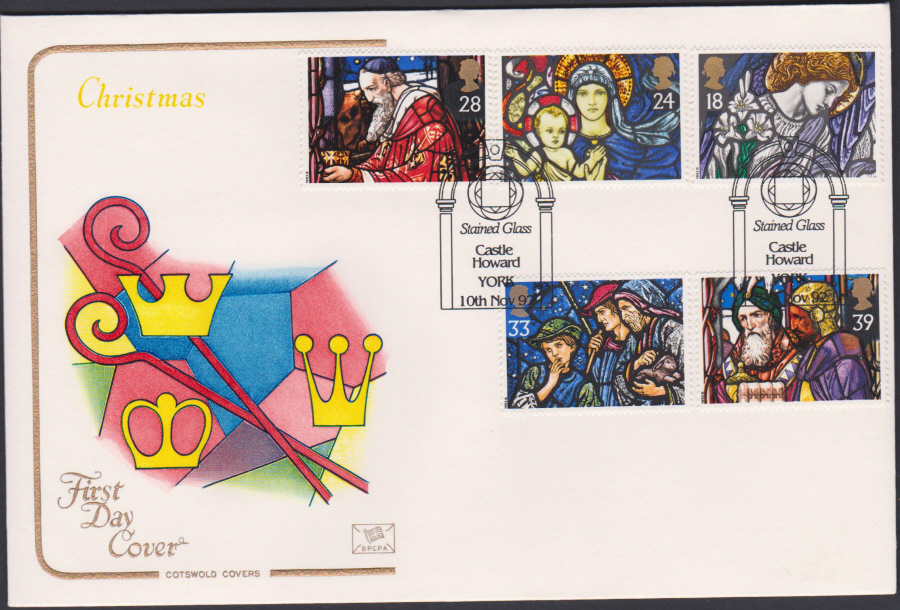 1992 - Christmas Set First Day Cover COTSWOLD - Castle Howard York Postmark
