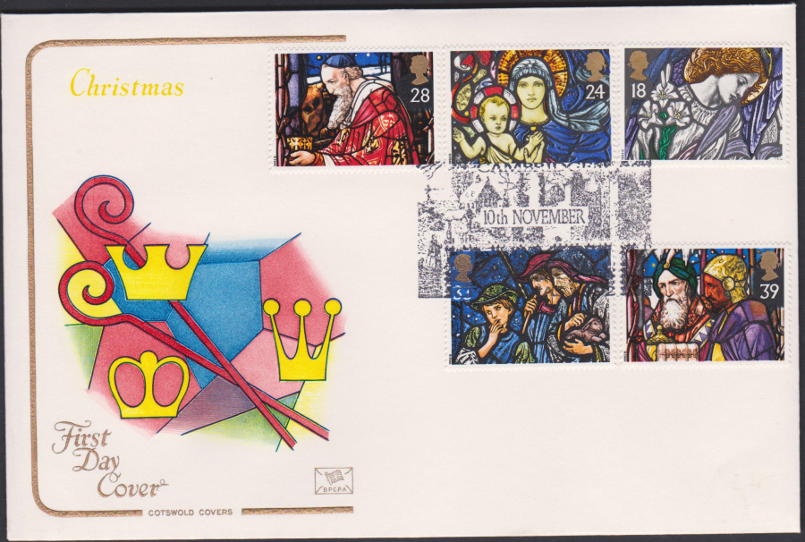 1992 - Christmas Set First Day Cover COTSWOLD - Cambridge, Christmas Postmark