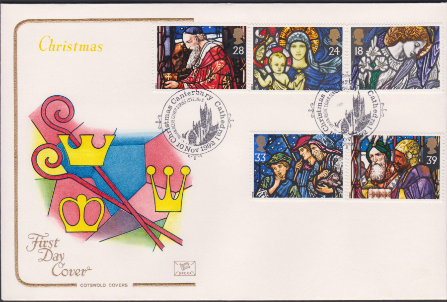 1992 - Christmas Set First Day Cover COTSWOLD - Canterbury Cathedral Postmark