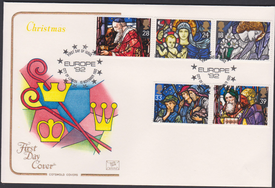 1992 - Christmas Set First Day Cover COTSWOLD - Europe 92 Postmark
