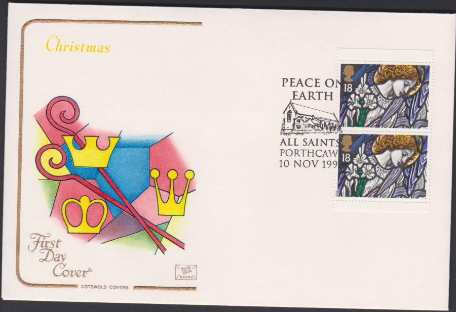 1992 - Christmas Retail Book First Day Cover COTSWOLD - All Saints, Porthcall Postmark