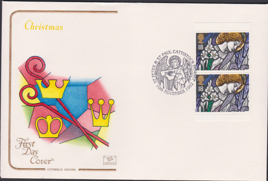 1992 - Christmas Retail Book First Day Cover COTSWOLD - St Peters Cattistock,Dorset Postmark