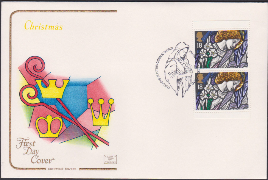 1992 - Christmas Retail Book First Day Cover COTSWOLD - St Peters Church, Letherhead Postmark