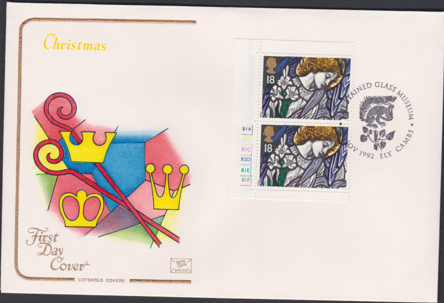 1992 - Christmas Retail Book First Day Cover COTSWOLD - Glass Museumn Ely Cambes Postmark