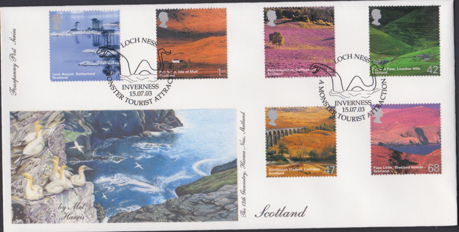 2003 - Scotland FDC 4d Post -Loch Ness, Inverness Postmark