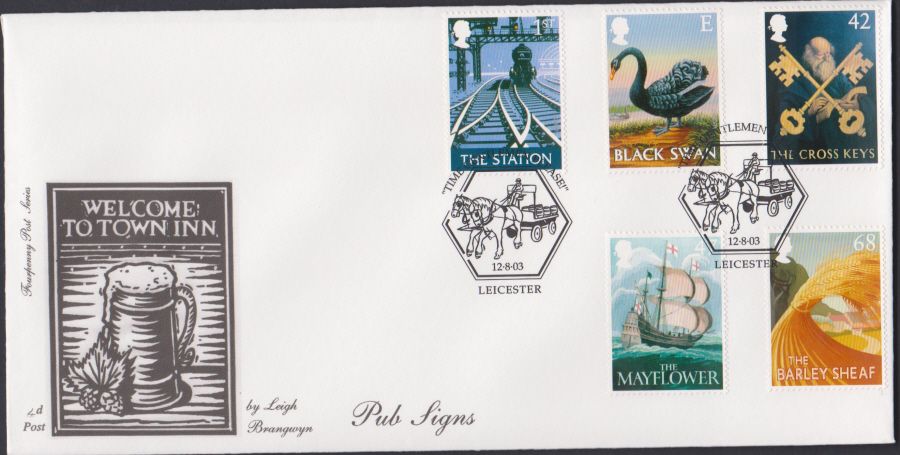 2003 - Pub Signs FDC 4d Post -Leicester Postmark